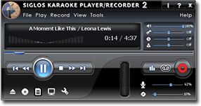 Siglos Karaoke Player/Recorder Screen - Karaoke Software for the PC
